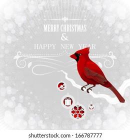 Christmas card wit cardinal