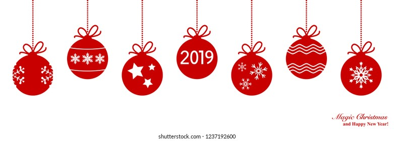 Christmas card with Xmas decoration. Happy New Year 2019