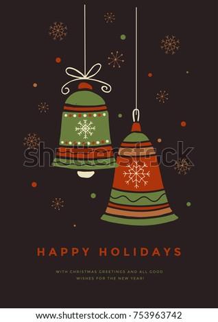 christmas card xmas toy bells inscription stock vector royalty free