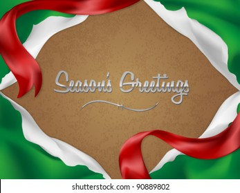 Christmas card/background with torn giftwrap