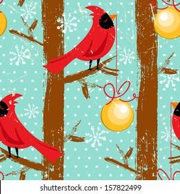 Christmas Cardinal Birds Seamless Pattern