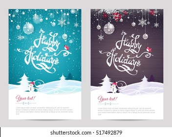 Christmas cards with calligraphy. Hand drawn design elements. Handwritten modern lettering. Happy holidays invitation posters. Vector illustration