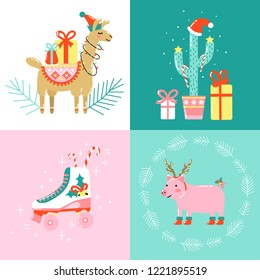 Christmas cards with cute funny animals, cactus and retro roller skate