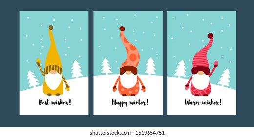 Christmas cards with cute  little Scandinavian gnomes. Fantastic character of dwarf. Flat design. Vector illustration. Season greetings.