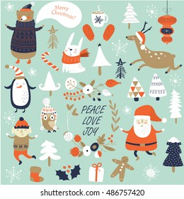 Christmas cards with cute Santa Claus, bear,  trees, flowers, hot chocolate, mittens, snowflakes and christmas toys, penguin, elf, christmas crackers and forest animals  in cartoon style