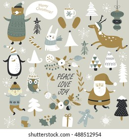 Christmas cards with cute Santa Claus, bear in knitted jumper, trees, , cup of hot chocolate, mittens, snowflakes and christmas toys, penguine, elf, crackers and forest animals  in cartoon style
