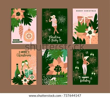 Christmas Cards Dancing Women New Year Stock Vektorgrafik
