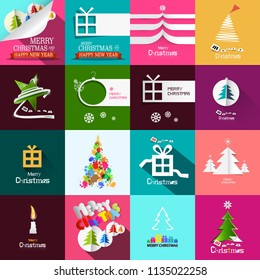 Christmas Cards Design Set. Vector Xmas Paper Cut Origami Backgrounds.
