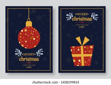 Christmas cards set. Christmas trees, bells, snowflakes. Winter holiday card design. Vector EPS 10.
