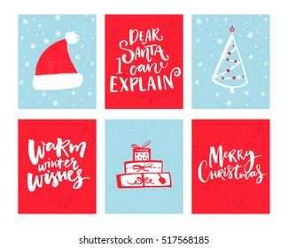 Christmas cards set. Vector Christmas design with hand drawn elements and lettering. Dear Santa, let me explain. Warm winter wishes.
