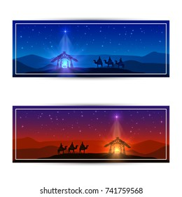 Christmas cards with Christmas star, birth of Jesus and three wise men, illustration.