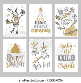 Christmas cards with Christmas trees, Santa, deer and hand drawn phrases. Vector illustration.