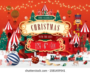 christmas carnival invitation card template vector/illustration