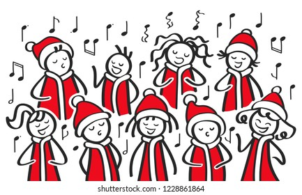 Christmas Carol singers, choir, funny men and women singing, stick figures in santa costumes sing a song isolated on white background