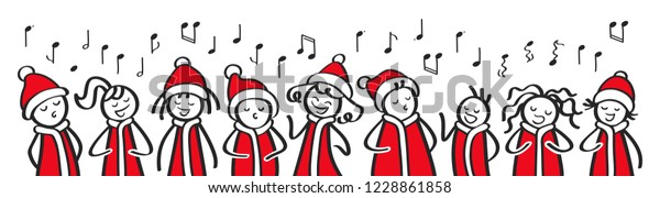 Christmas Carol singers, choir, funny men and women singing, stick figures in santa costumes sing a song, banner, isolated on white background