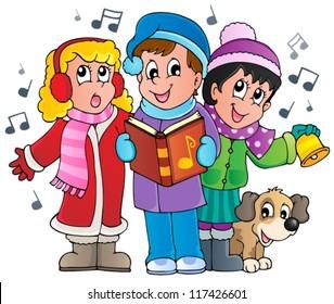 Christmas carol singers theme 1 - vector illustration.