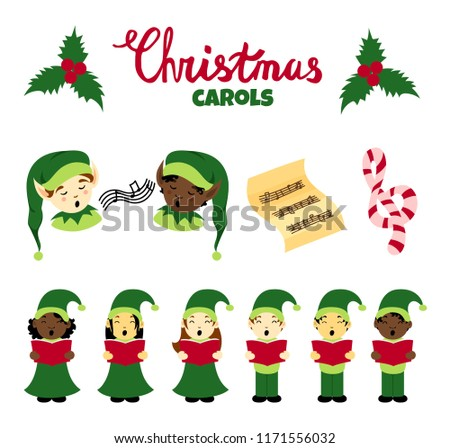 christmas carol vector elements big set multinational singing kids christmas songs lettering elves - Kids Christmas Songs