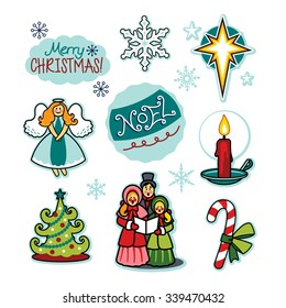 Christmas carolers holiday cheer illustration set