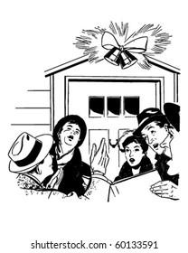 Christmas Carolers - Retro Clip Art