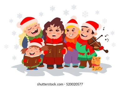 Christmas Caroling. Children choir singing carols and boy playing violin. Vector illustration on a white background.