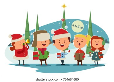 Christmas Caroling. Cute children choir singing carols. Vector cartoon illustration on a winter landscape.