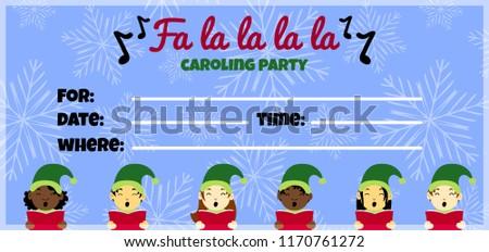 Christmas Caroling Party Invitation Design Multinational Stock ...