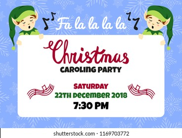 Christmas caroling party poster, flyer vector design, community christmas carols concert invitation. Christmas vector background. A4 horizontal format.