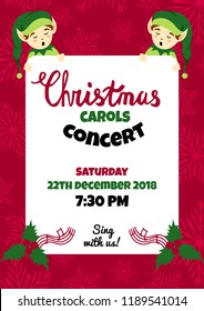 Christmas caroling party poster, flyer vector design, community christmas carols concert invitation. Christmas vector background. A4 vertical format.