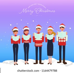 Christmas Caroling. Teenage choir singing carols merry christmas greeting on dark blue background with snow.