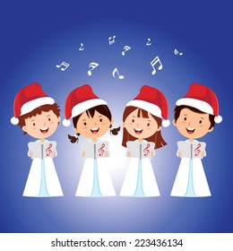 Christmas Carols. Children choir singing.