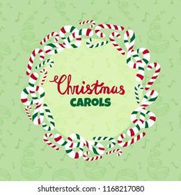 Christmas carols vector poster. Merry christmas card, christmas singing invitation card, winter songs album cover, musical illustration.