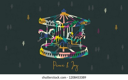 Christmas Carousel Greetings template vector/illustration