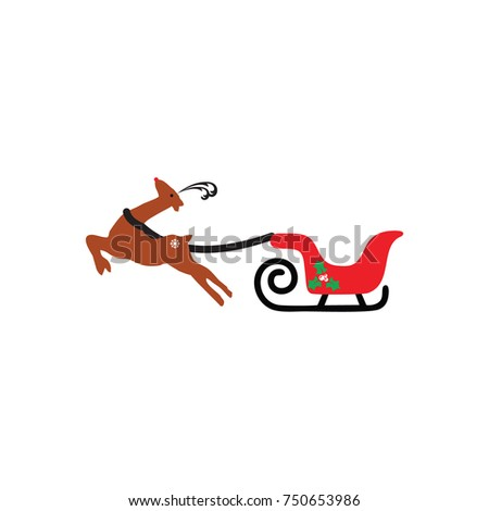 ca139e0517 Christmas Cart Deer Stock Vector (Royalty Free) 750653986 - Shutterstock