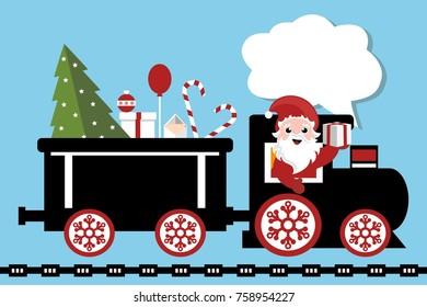 christmas cartoon card wih santa claus driving the locomotive of the train