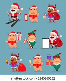 Christmas cartoon characters, set of nine illustrations. Santa Claus, cute piggy, Santa helper Elf and funny deer. Lettering translates as Happy New Year. Stock vector