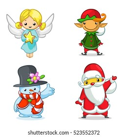 Christmas cartoon characters set. Vector illustration of Christmas angel, elf, snowman and Santa Claus