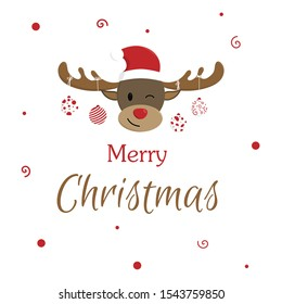 Christmas cartoon deer, (moose). Merry Christmas and Happy New Year. Vector illustration. Background. Wallpaper.