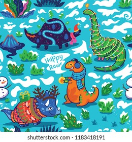 Christmas cartoon dinosaurs in sweaters, hats and scarves. New year endless wallpaper for wrapping paper, fabric textile design. Vector illustration