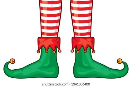 Christmas cartoon elfs legs