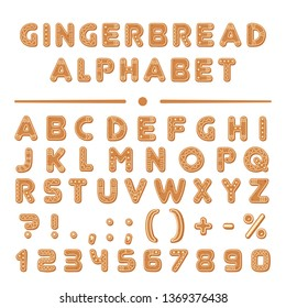 Christmas cartoon gingerbread cookies font alphabet collection.