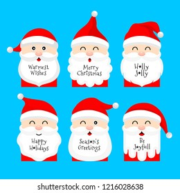 Christmas cartoon greeting cards set design. Merry Christmas concept. Vector illustration isolated on blue background.