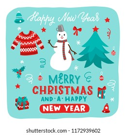 Christmas cartoon hand drawn set with lettering. Vector illustration with snowman, sweater, christmas tree and others.