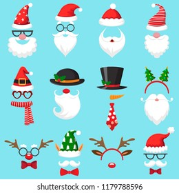 Christmas cartoon hats. Xmas santa hat, elf cap and reindeer photo mask. Santas beard and mustaches mask, snowman deer head costume accessory in mobile app for party, vector isolated icons set