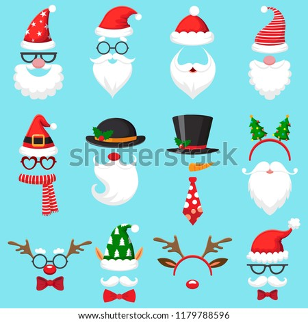 bebba0142db8d Christmas Cartoon Hats Xmas Santa Hat Stock Vector (Royalty Free ...