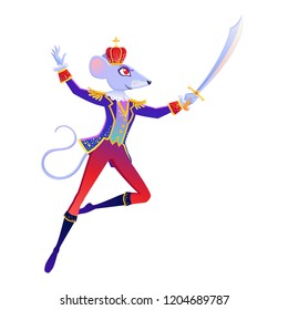 Christmas cartoon illustration from Nutcracker's story. Mouse King. Cute cartoon character from winter tale and ballet. Vector illustration.