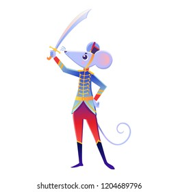 Christmas cartoon illustration from Nutcracker's story. Mouse King and his soldier. Cute cartoon character from winter tale and ballet. Vector illustration.