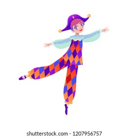 Christmas cartoon illustration from Nutcracker's story. Dancer boy. Cute cartoon character from winter tale and ballet. Vector illustration.