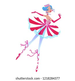 Christmas cartoon illustration from Nutcracker's story. Cute cartoon character from winter tale and ballet. Beautiful dancer ballerina. Vector illustration.
