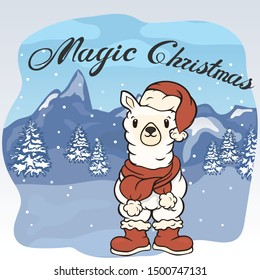 Christmas cartoon lama character in Santa's boots, hat and scarf with pompon vector image. Merry Christmas greeting card with fun alpaca. Funny winter card with a cartoon llama. New Year's poster.