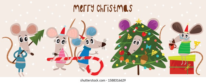 Christmas cartoon mouses collection. Winter hand drawn set of cute symbol of 2020 year. New Year mice and decorations. - Shutterstock ID 1588316629